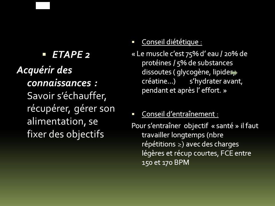 ETAPE 2 Acquérir des connaissances : Savoir s'échauffer, récupérer, gérer son alimentation, se fixer des objectifs.