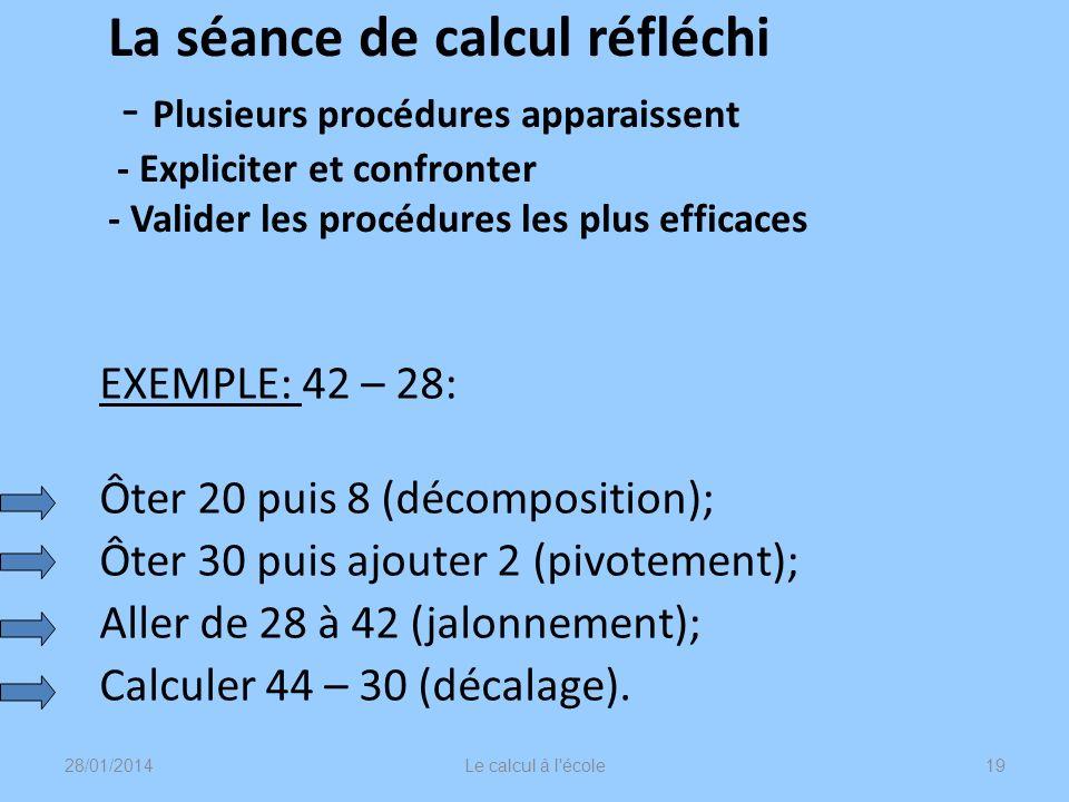 La séance de calcul réfléchi - Plusieurs procédures apparaissent - Expliciter et confronter - Valider les procédures les plus efficaces