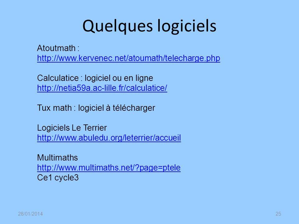 Quelques logicielsAtoutmath : http://www.kervenec.net/atoumath/telecharge.php.