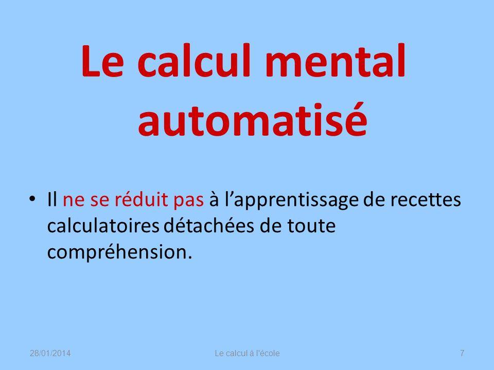 Le calcul mental automatisé