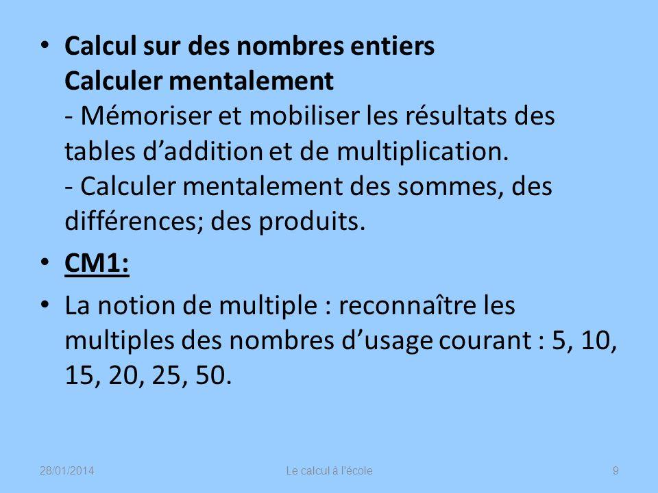 Calcul sur des nombres entiers Calculer mentalement - Mémoriser et mobiliser les résultats des tables d'addition et de multiplication. - Calculer mentalement des sommes, des différences; des produits.