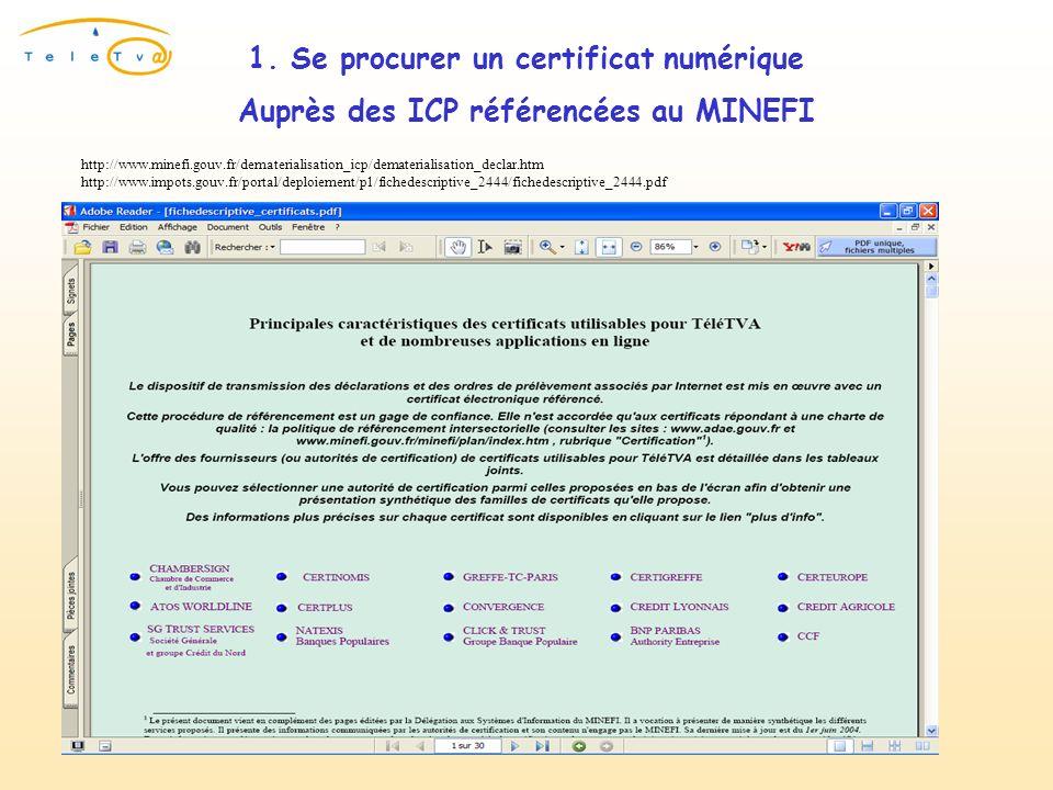 Auprès des ICP référencées au MINEFI