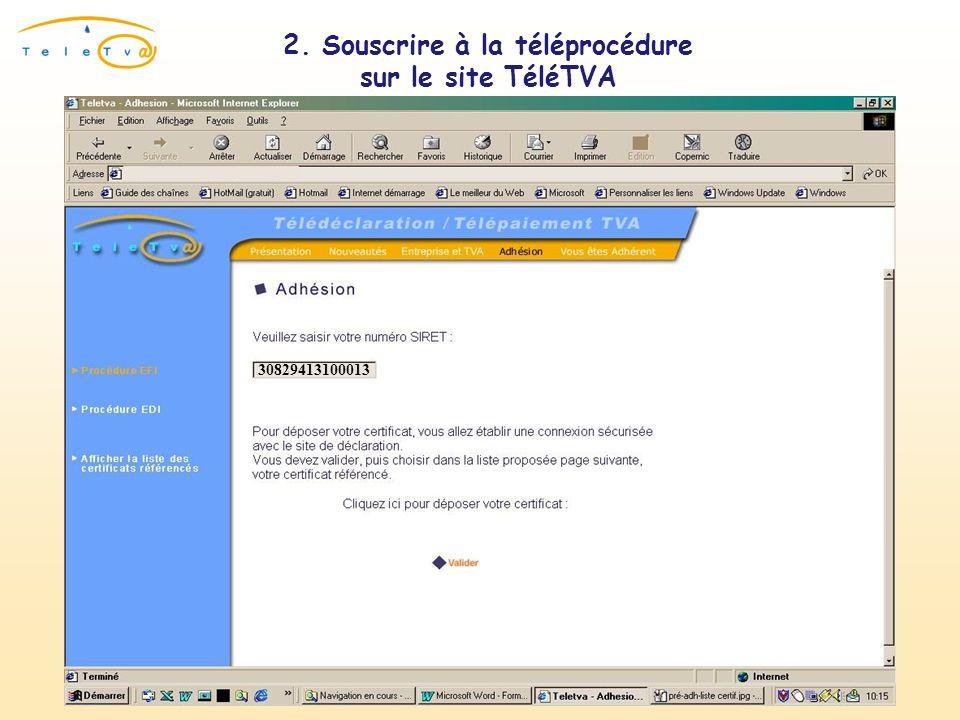 2. Souscrire à la téléprocédure sur le site TéléTVA