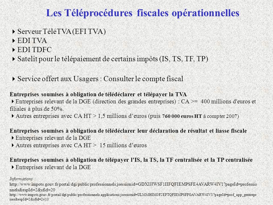 Les Téléprocédures fiscales opérationnelles