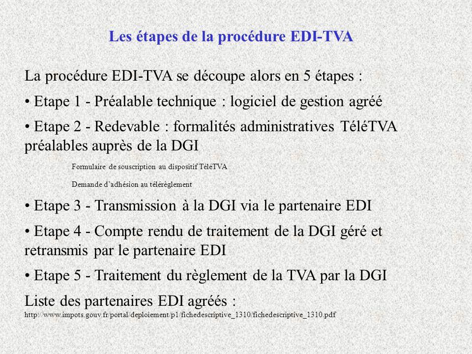 Les étapes de la procédure EDI-TVA