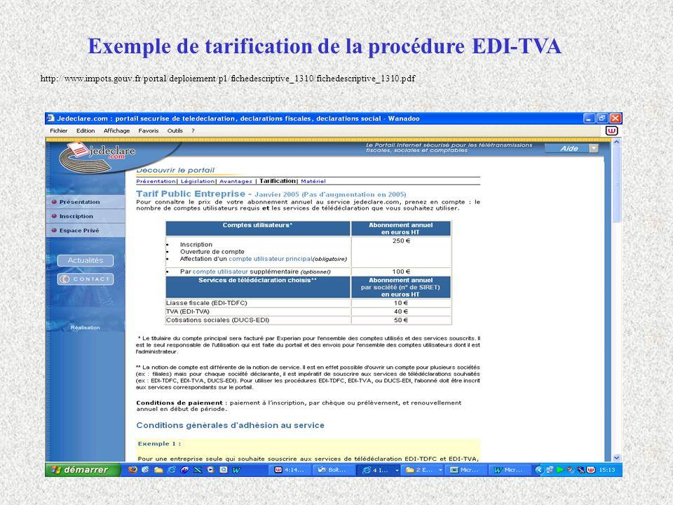 Exemple de tarification de la procédure EDI-TVA