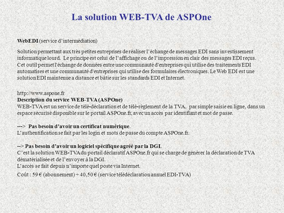 La solution WEB-TVA de ASPOne