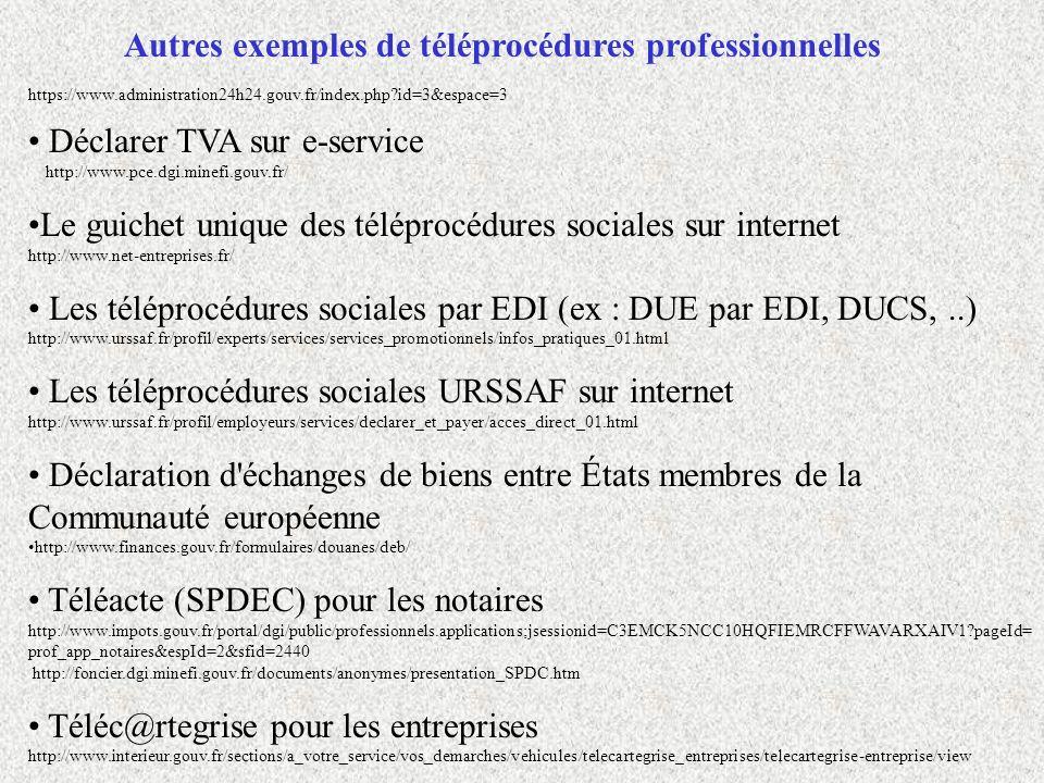 Autres exemples de téléprocédures professionnelles