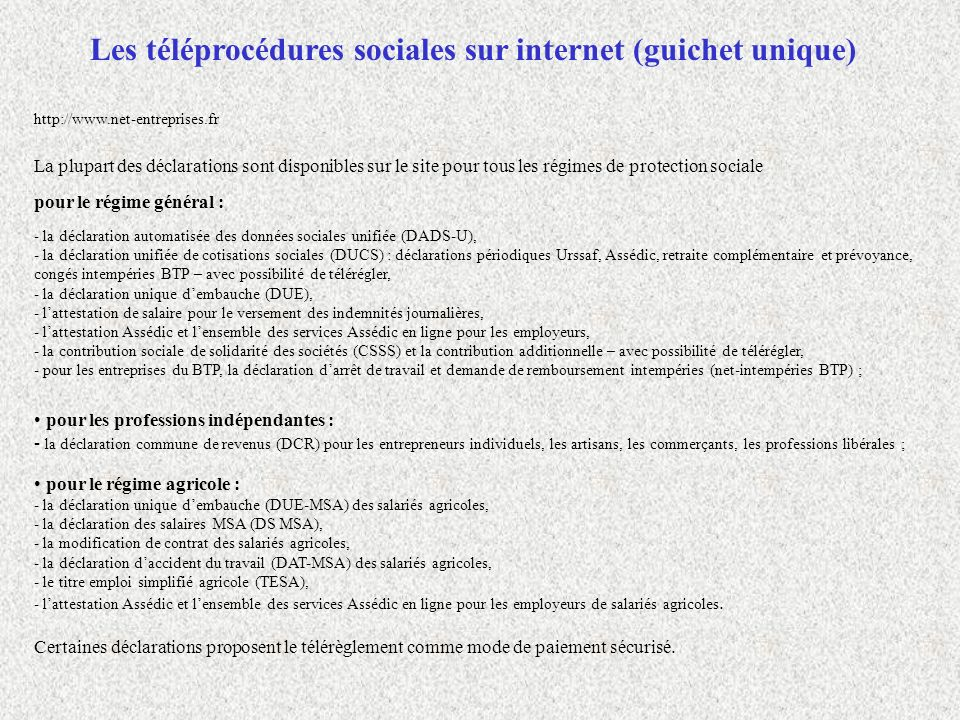 Les téléprocédures sociales sur internet (guichet unique)