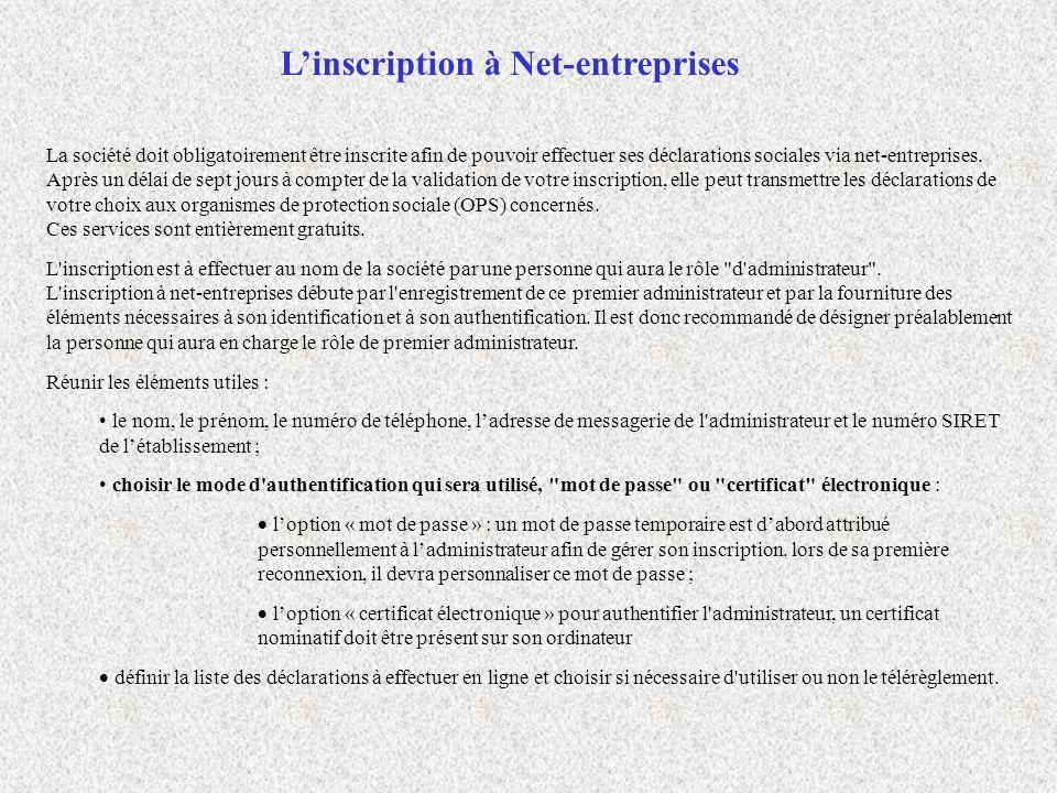 L'inscription à Net-entreprises