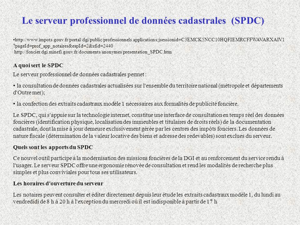 Le serveur professionnel de données cadastrales (SPDC)
