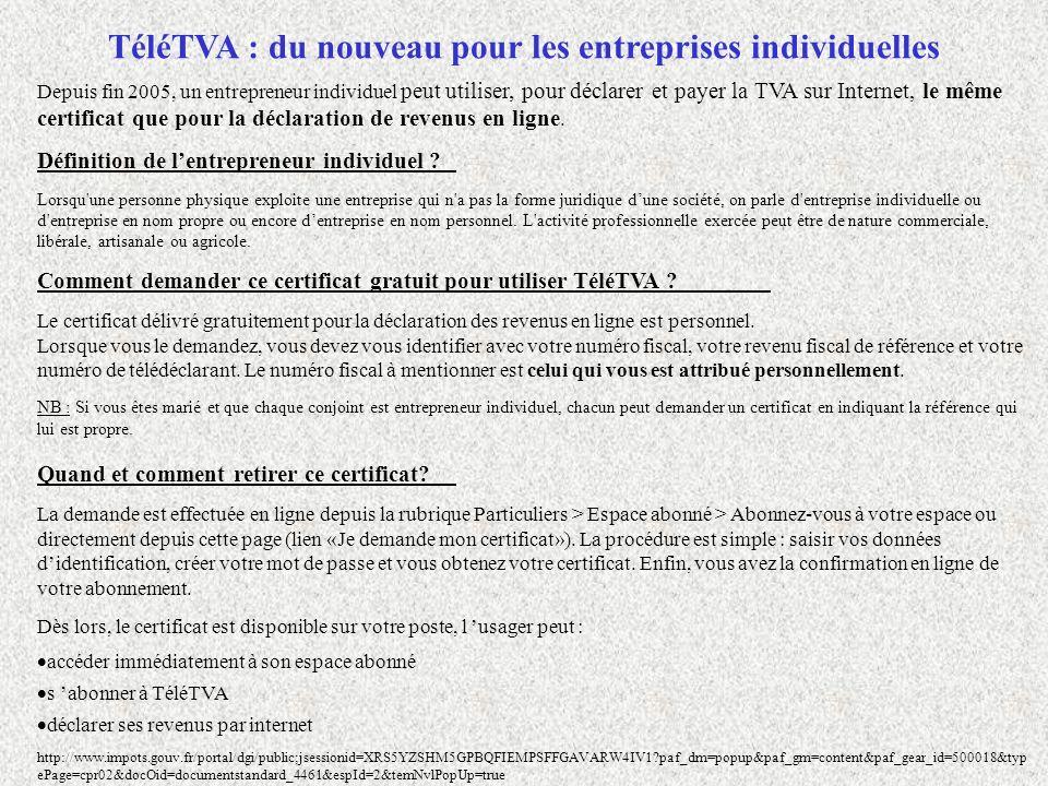 TéléTVA : du nouveau pour les entreprises individuelles