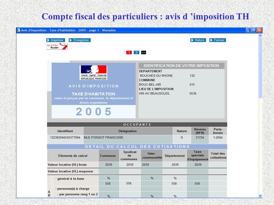Compte fiscal des particuliers : avis d 'imposition TH