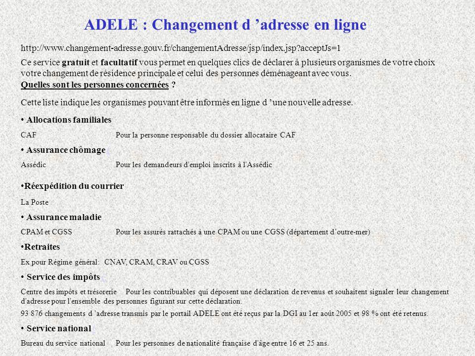 ADELE : Changement d 'adresse en ligne