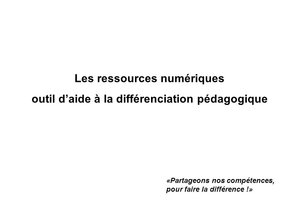 Les ressources numériques