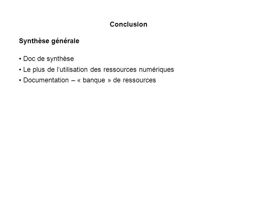 Conclusion Synthèse générale. Doc de synthèse. Le plus de l'utilisation des ressources numériques.