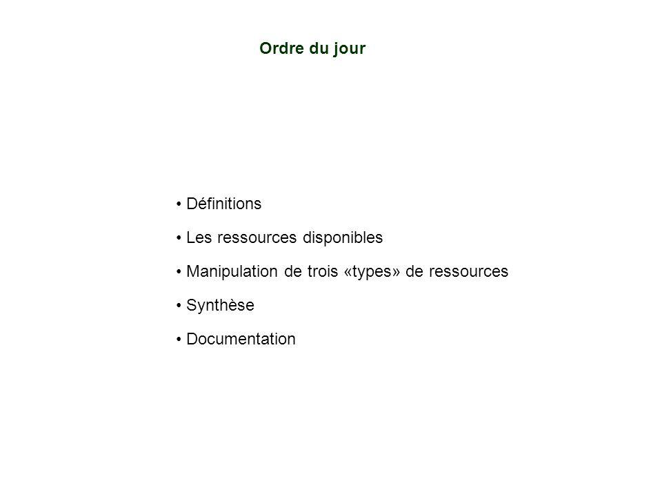 Ordre du jour Définitions. Les ressources disponibles. Manipulation de trois «types» de ressources.