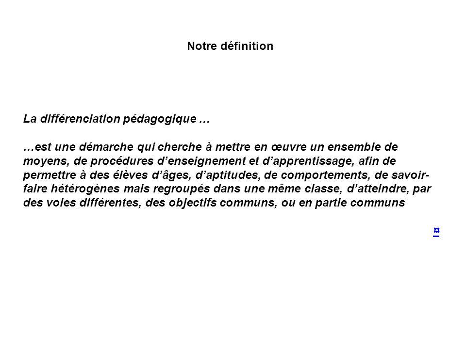 La différenciation pédagogique …