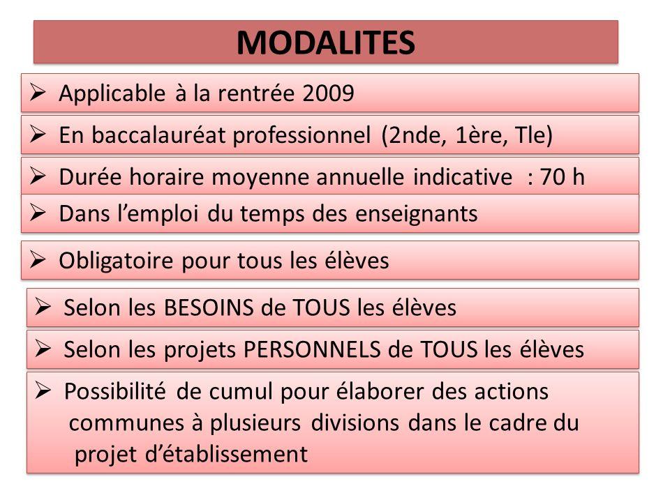 MODALITES Applicable à la rentrée 2009