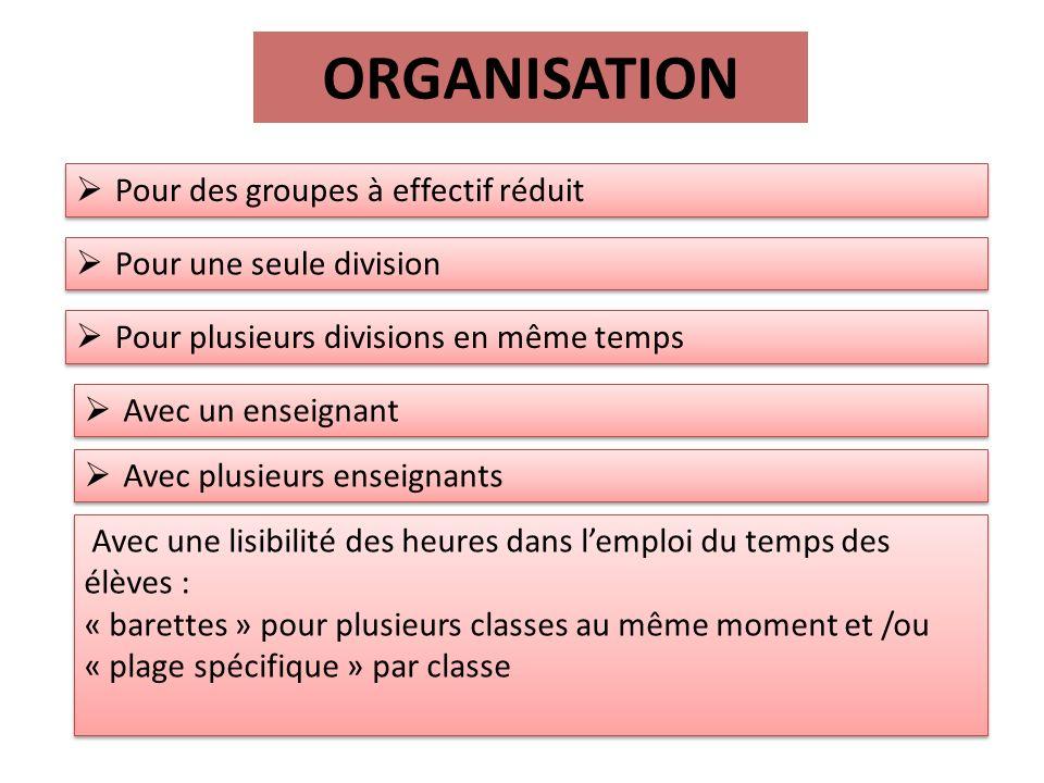 ORGANISATION Pour des groupes à effectif réduit