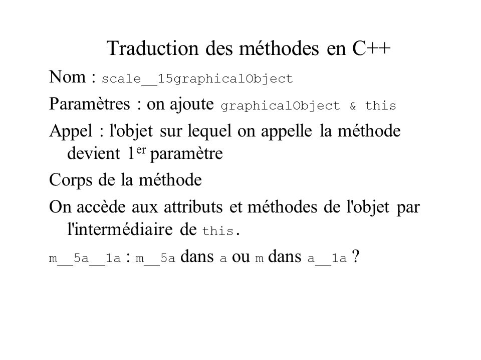 Traduction des méthodes en C++