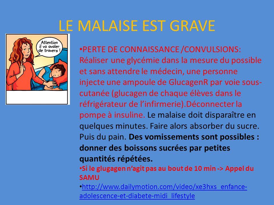 LE MALAISE EST GRAVE PERTE DE CONNAISSANCE /CONVULSIONS: