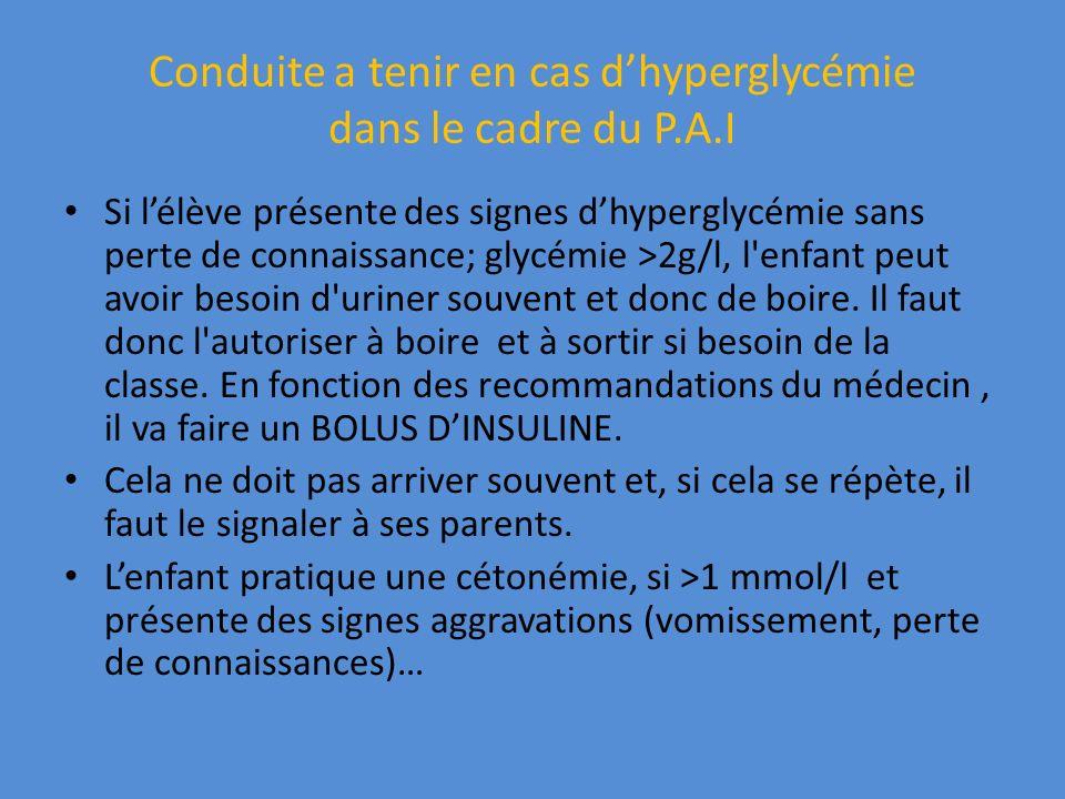 Conduite a tenir en cas d'hyperglycémie dans le cadre du P.A.I
