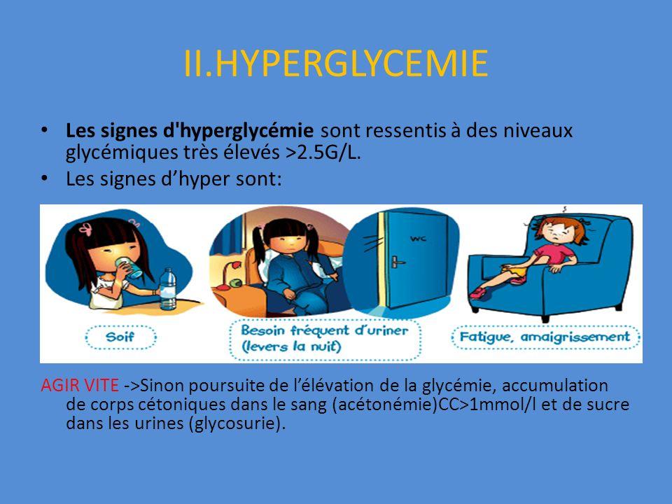 II.HYPERGLYCEMIE Les signes d hyperglycémie sont ressentis à des niveaux glycémiques très élevés >2.5G/L.