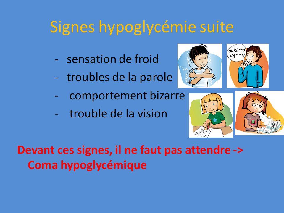 Signes hypoglycémie suite