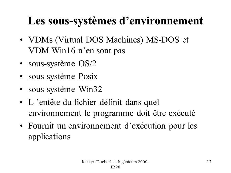 Les sous-systèmes d'environnement
