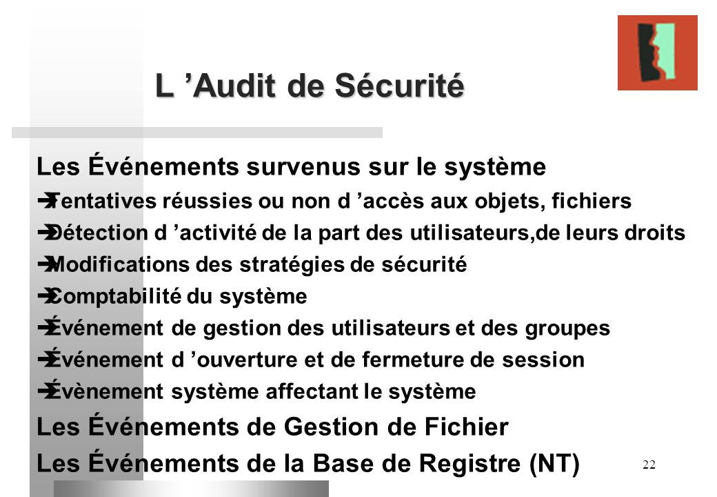 L 'Audit de Sécurité Les Événements survenus sur le système
