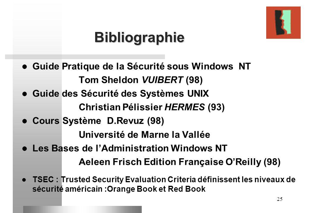 Bibliographie Guide Pratique de la Sécurité sous Windows NT