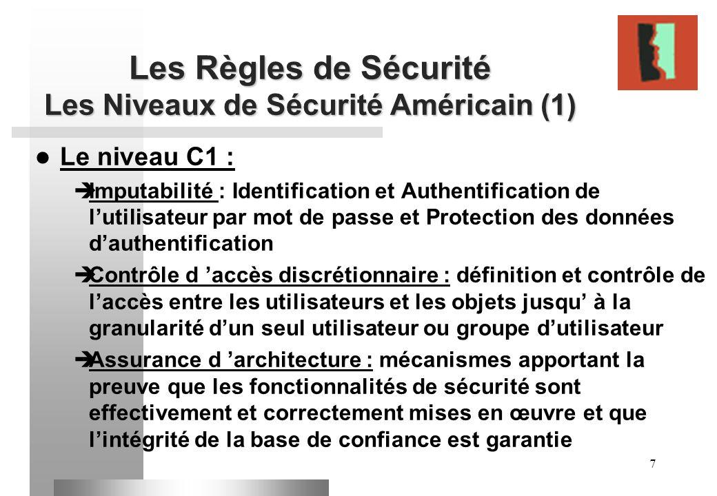 Les Règles de Sécurité Les Niveaux de Sécurité Américain (1)