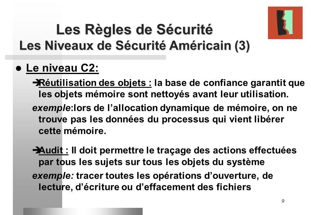 Les Règles de Sécurité Les Niveaux de Sécurité Américain (3)