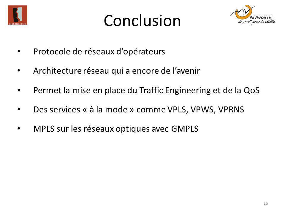 Conclusion Protocole de réseaux d'opérateurs