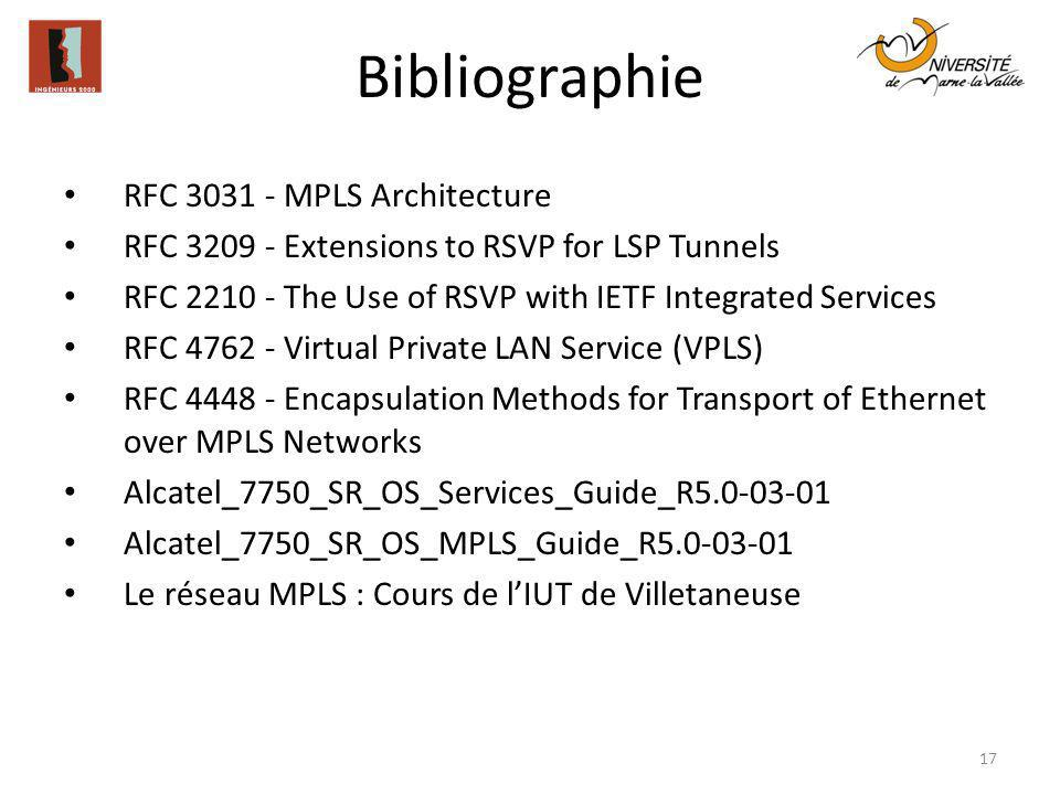 Bibliographie RFC 3031 - MPLS Architecture