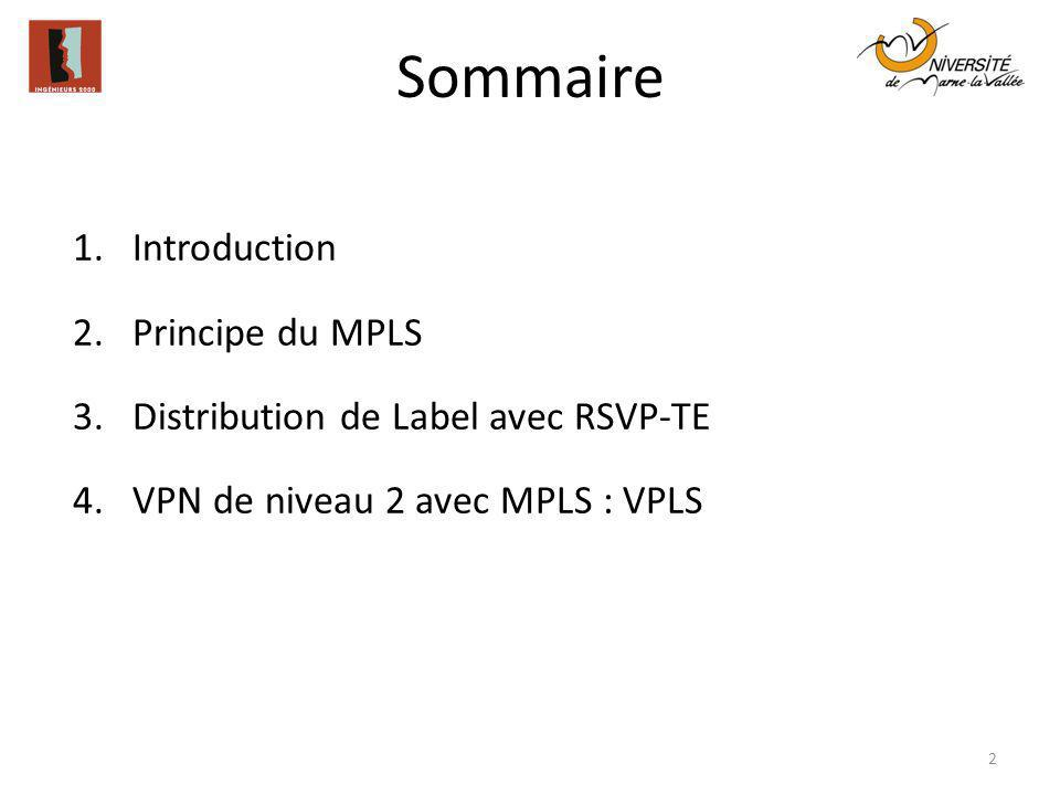 Sommaire Introduction Principe du MPLS