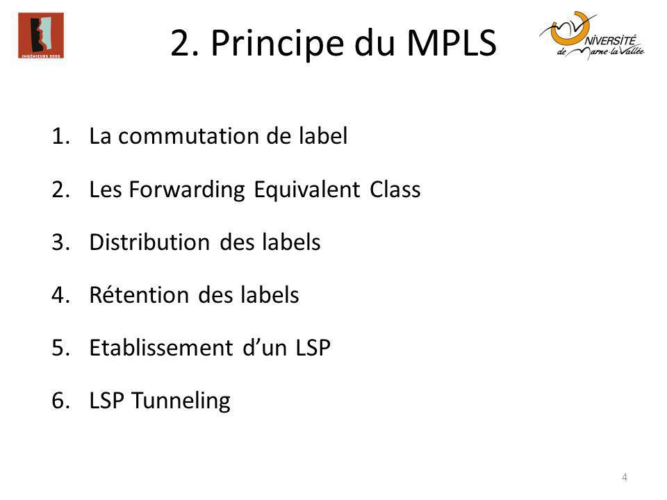 2. Principe du MPLS La commutation de label