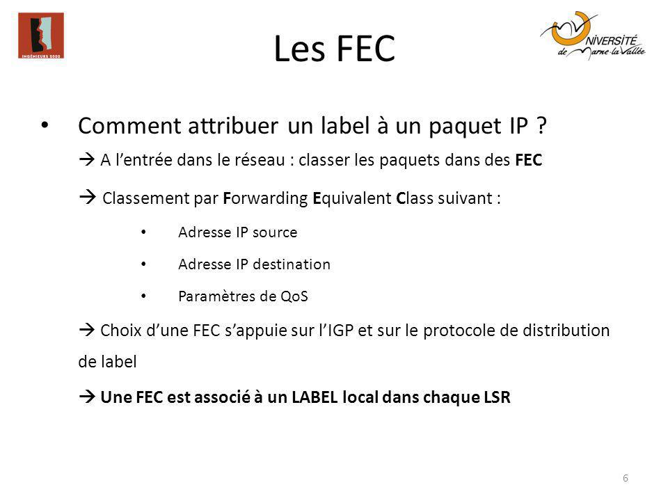 Les FEC Comment attribuer un label à un paquet IP