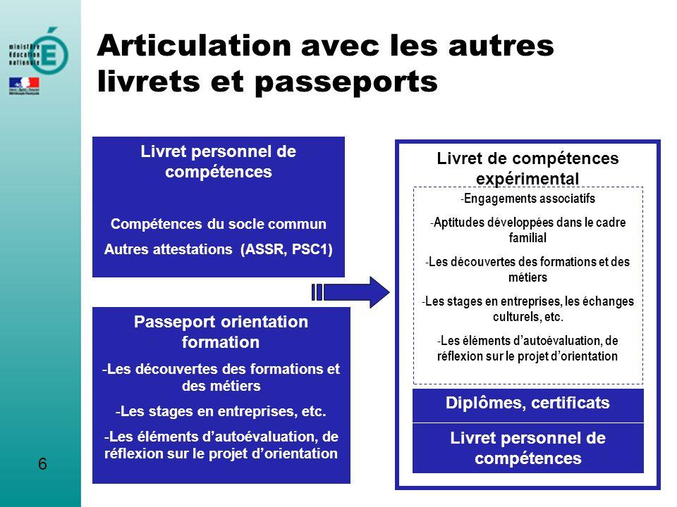 Articulation avec les autres livrets et passeports