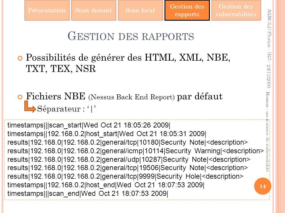 Gestion des rapports ARNOLD Florian - IR3 - 24/11/2009. Possibilités de générer des HTML, XML, NBE, TXT, TEX, NSR.
