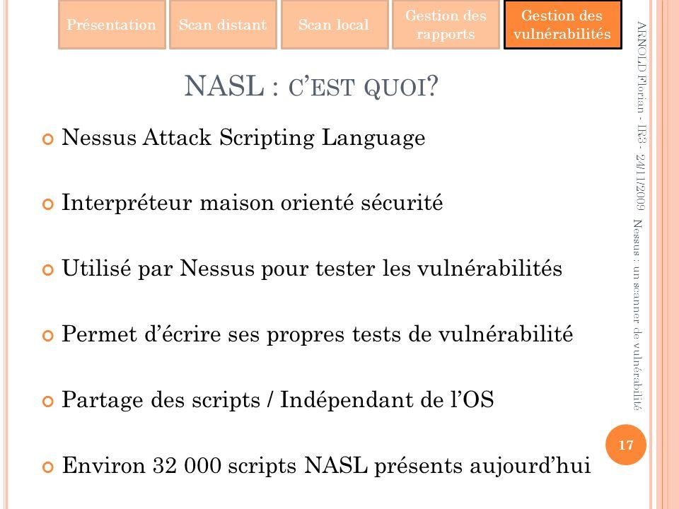 NASL : c'est quoi Nessus Attack Scripting Language