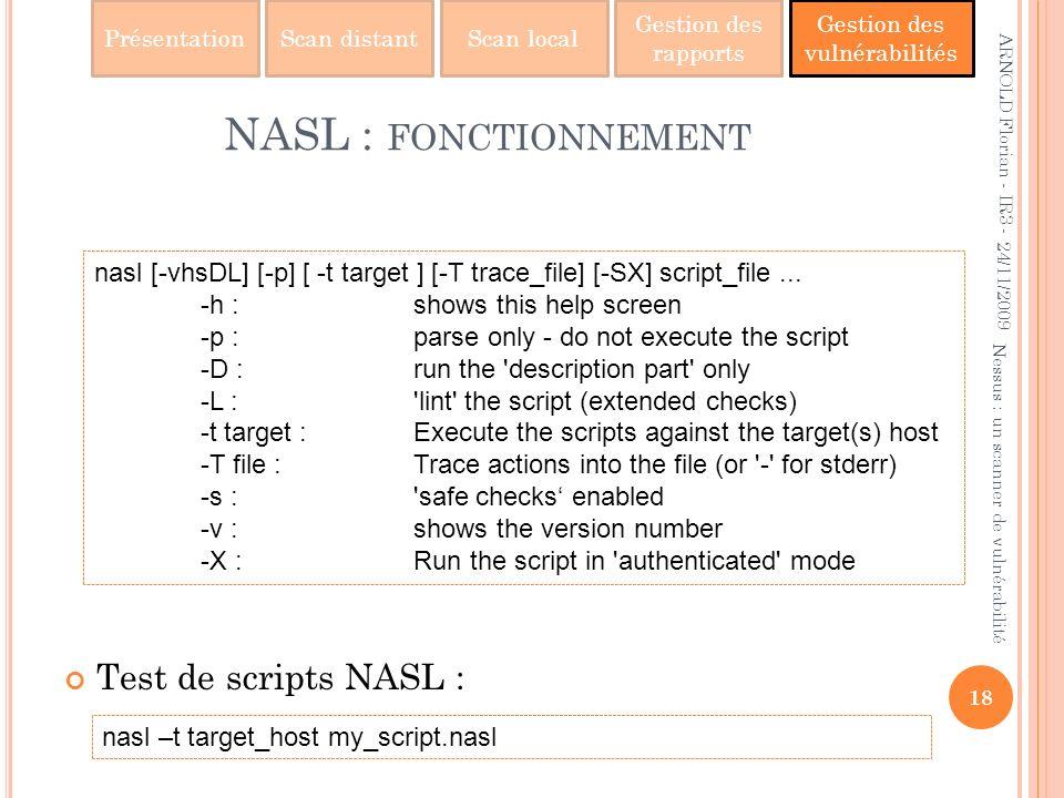 NASL : fonctionnement Test de scripts NASL :