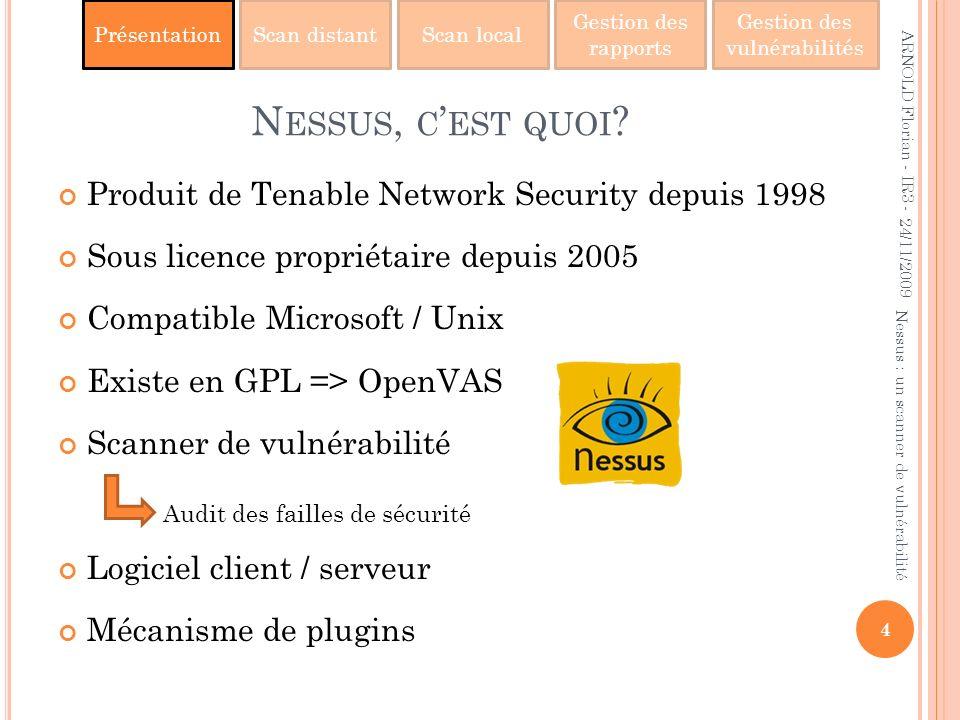 Nessus, c'est quoi Produit de Tenable Network Security depuis 1998