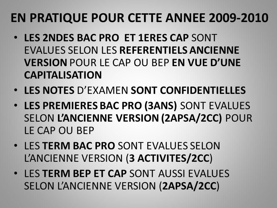 EN PRATIQUE POUR CETTE ANNEE 2009-2010