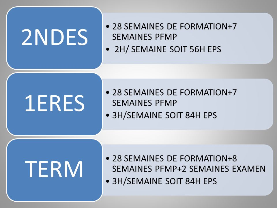 2NDES 28 SEMAINES DE FORMATION+7 SEMAINES PFMP. 2H/ SEMAINE SOIT 56H EPS. 1ERES. 3H/SEMAINE SOIT 84H EPS.
