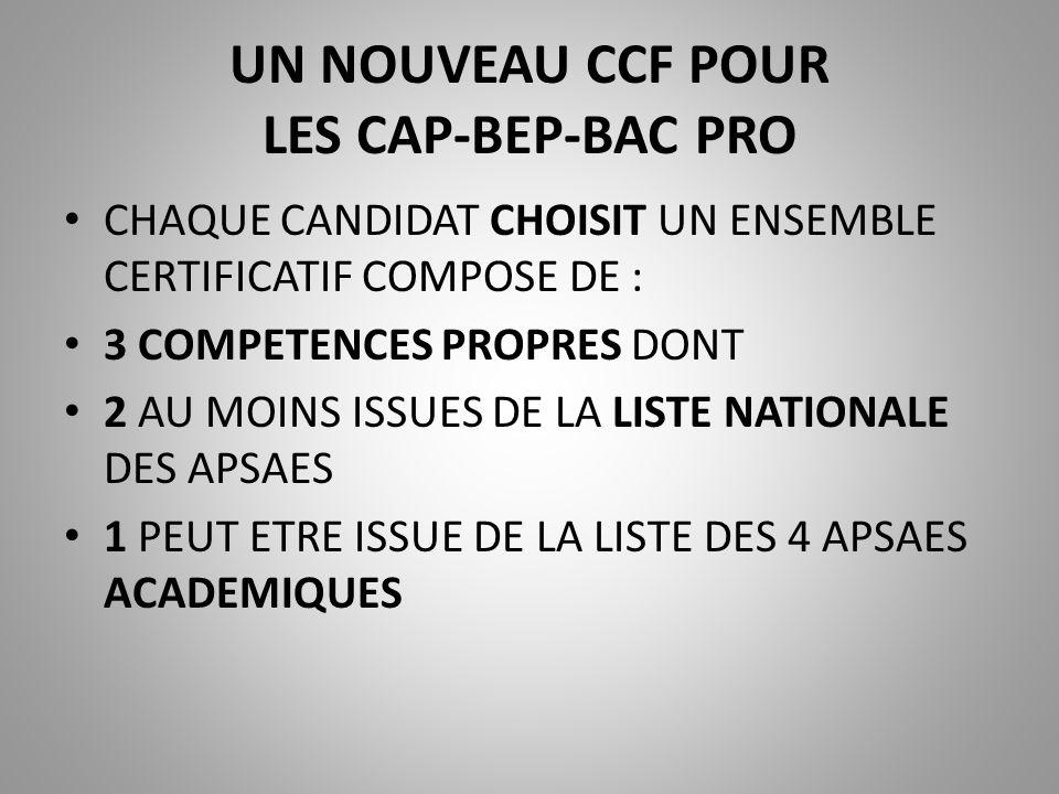 UN NOUVEAU CCF POUR LES CAP-BEP-BAC PRO