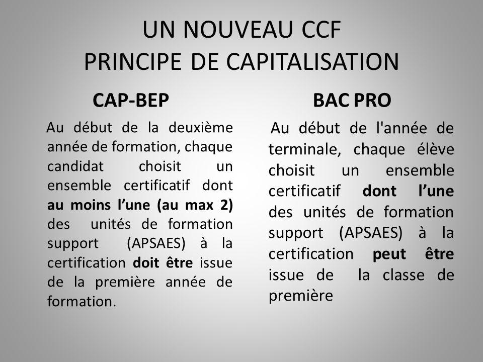 UN NOUVEAU CCF PRINCIPE DE CAPITALISATION