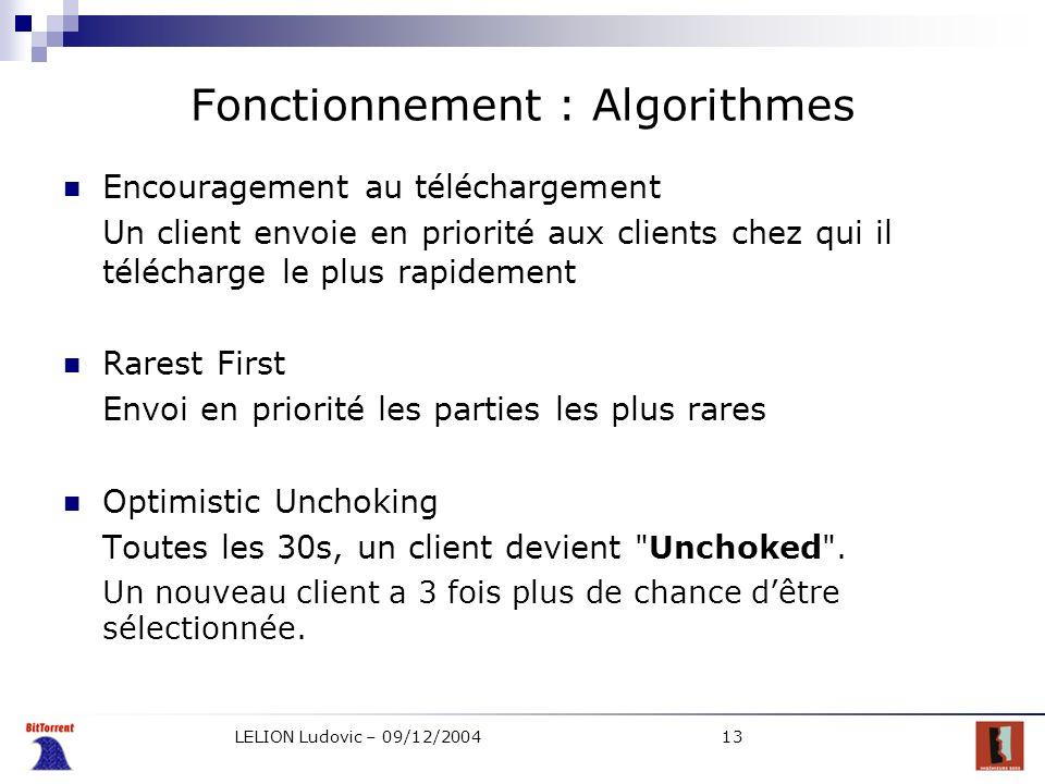 Fonctionnement : Algorithmes