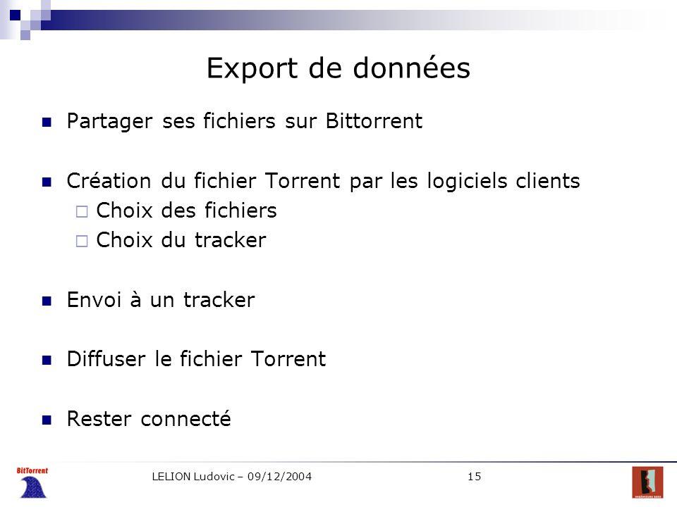 Export de données Partager ses fichiers sur Bittorrent